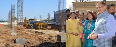 Speaker Legislative Assembly Kavinder Gupta inspecting construction work on Thursday.