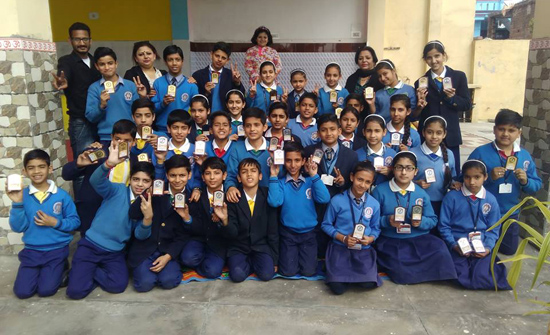 Students of Navyug HSS posing for a group photograph during concluding ceremony of Sports Week.