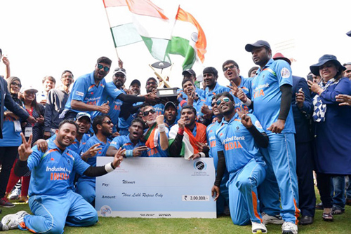 Visually challenged players of the Indian blind cricket team celebrate their victory against Pakistan after winning the 2nd T20 World Cup Cricket for the Blind 2017, in Bengaluru.