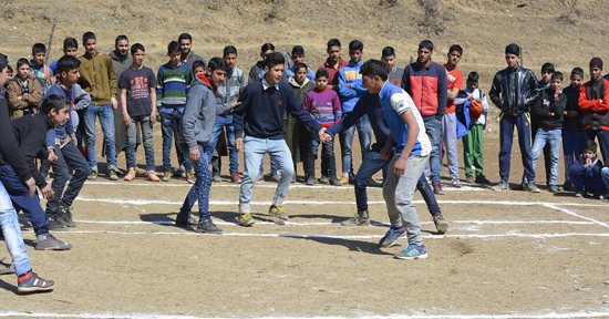 Players in action during competition held under Khelo India Scheme at Pulwama.