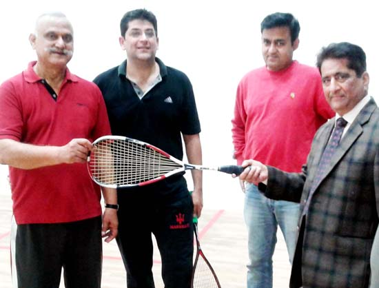 Chief guest and other dignitaries inaugurating Jammu District Squash Championship.