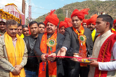 Minister of State for Finance Ajay Nanda inaugurating Shiv Khori Mela at Ransoo on Thursday.