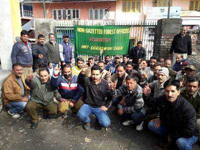 Forest officials raising slogans during protest at Bhaderwah. -Excelsior/Tilak Raj