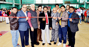 Director Sports and Physical Education JU, A S Jasrotia and other dignitaries inaugurating Speedball awareness camp in Jammu.