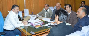 Minister for Sports, Molvi Imran Raza Ansari chairing a meeting of officers in Jammu on Wednesday.