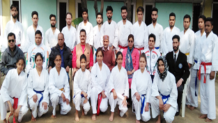 Karate Kas posing for a group photograph alongwith organisers, office bearers and members of J&K State Sports Council in Jammu.