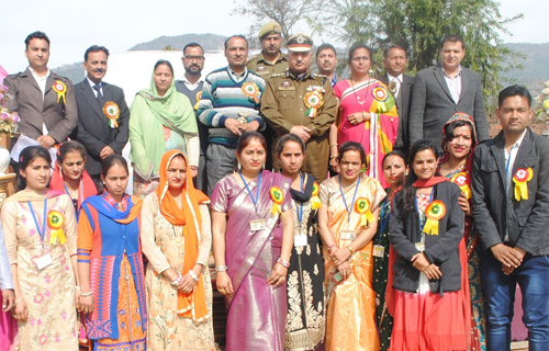 Dignitaries and organizers during Annual Day celebration at National Model Academy on Thursday.