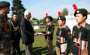Governor interacting with everest summiteers NCC cadets of J&K at Rajbhavan in Jammu on Wednesday.