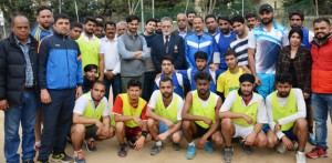 Handball players posing alongwith Secretary J&K State Sports Council, Waheed-ur-Rehman Parra and other dignitaries in Jammu on Friday.