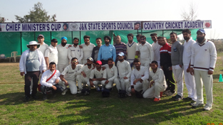 Winners posing for a group photograph after registering victory in Chief Minister's Cricket Cup.