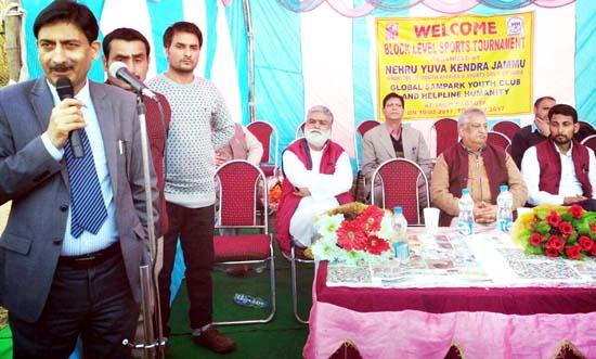 MLA Kokernag, Abdul Rahim Rather speaking on the inaugural function of 3-Day Block Level Tournament at Jagti.
