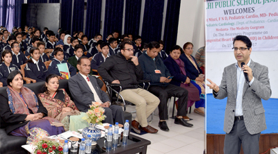 Senior Consultant, Dr. Amit Misri, Division of Pediatric Cardiology, Medanta Heart Institute delivering lecture at DPS Jammu.