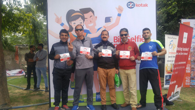 Rajesh Padha and other four athletes of Jammu posing for a photograph after participating in AU Jaipur Marathon.