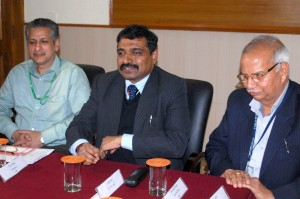 DG IIMC interacting with media persons at Jammu on Friday. —Excelsior/Rakesh