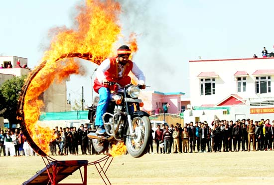 Daredevils displaying skill during inaugural function of Udhampur Olympics.
