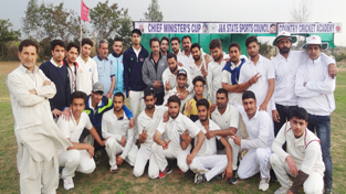 Teams posing for group photograph alongwith dignitaries and officials at Country Cricket Academy, Gharota in Jammu.