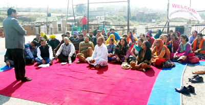 Medical employees staging dharna at District Hospital Reasi on Thursday.