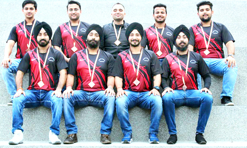 Players of J&K Roller Skating team posing for a photograph after claiming bronze medal in Nationals.