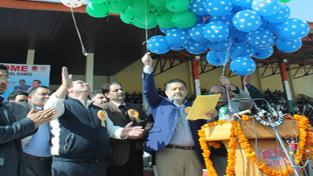 Minister for Sports, Moulvi Imran Raza Ansari alongwith other Minister and dignitaries releasing balloons while declaring open 62nd National School Games at MA Stadium in Jammu. — Excelsior/Rakesh