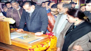 "Minister for Culture Dr Haseeb Drabu during the launch of  ""Object of the Month""  at Jammu on Saturday."