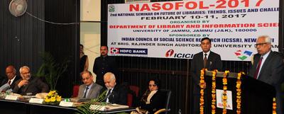 Governor N N Vohra addressing national seminar at Jammu University on Friday.