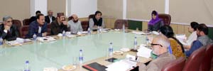 Chief Minister Mehbooba Mufti chairing a meeting at Jammu on Wednesday.