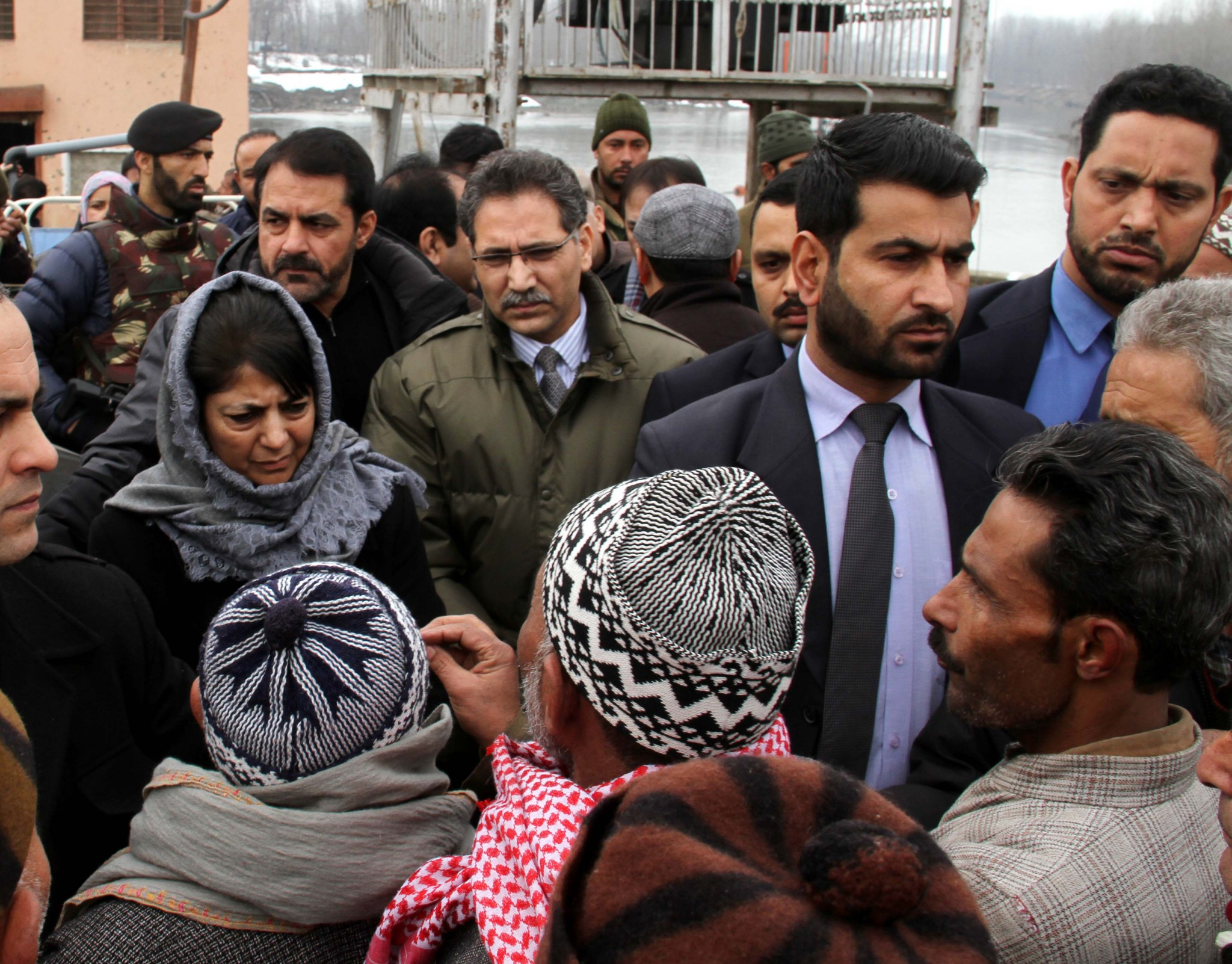 Chief Minister Mehbooba Mufti interacting with people in Srinagar on Thursday.