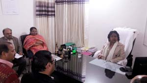 PCIT J&K Sangeeta Gupta chairing a meeting at Reasi on Wednesday.