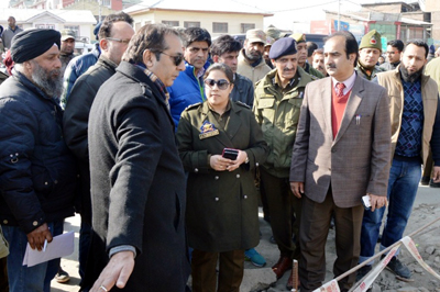 Divisional Commissioner Baseer Ahmed Khan during inspection of development works in Srinagar on Saturday.