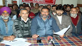 JKTF leaders addressing a press conference at Jammu on Sunday. —Excelsior/Rakesh