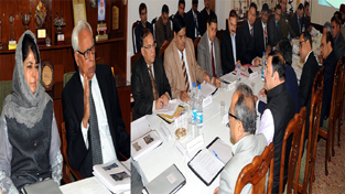 Governor N N Vohra and Chief Minister Mehbooba Mufti reviewing Katra development issues in a meeting at Raj Bhavan on Friday.