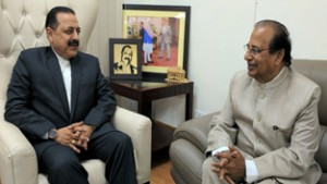 Lt. Governor of Andaman & Nicobar Islands, Prof. Jagdish Mukhi calling on Union Minister Dr Jitendra Singh, at New Delhi.