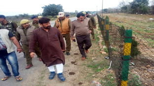 Minister for Forest Choudhary Lal Singh during his visit to Hiranagar Social Forestry on Sunday.