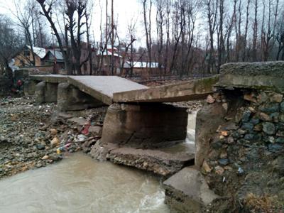 Collapsed bridge near Qazigund. -Excelsior/Sajad Dar