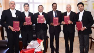 Chief Justice N Paul Vasanthakumar and other Judges releasing first edition of Jammu Kashmir Law Times.