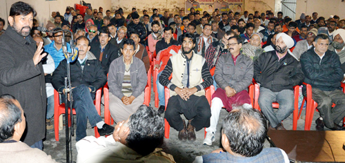 Forest Minister Ch Lal Singh addressing public grievance redressal camp at Kathua on Sunday.