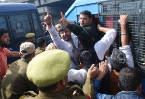 Youth Congress protests against failures of PDP-BJP Govt