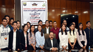A group of students from Nagaland Central University calling on Union Minister Dr Jitendra Singh at New Delhi on Friday.