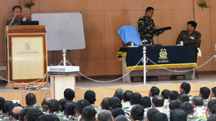 CRPF officer presenting his views during inaugural ceremony of pre-induction training.