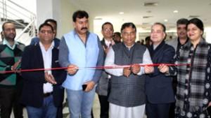 BJP State president & MLA Sat Sharma inaugurating Job Fair at Jammu on Friday.    —Excelsior/Rakesh