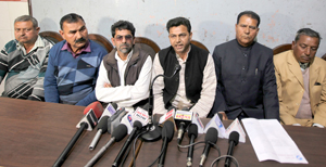 AJKBUF leaders addressing a press conference at Jammu on Wednesday. — Excelsior/Rakesh