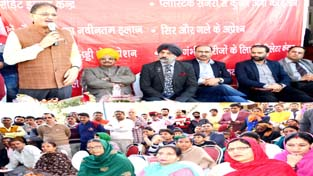 Speaker Legislative Assembly Kavinder Gupta addressing a gathering at Gandhi Nagar on Sunday.