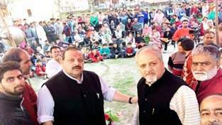 Provincial President National Conference Devender Singh Rana during a function at Jagti on Sunday.