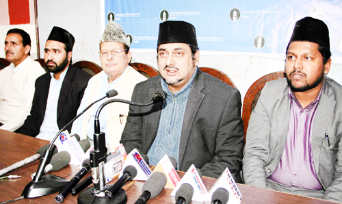 Ahmadiya Muslim Jamaat leader Sheeraz Ahmed addressing press conference in Jammu. -Excelsior/ Rakesh