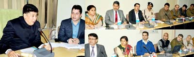 Excise Commissioner Tsering Angchuk chairing a meeting at Jammu on Tuesday.
