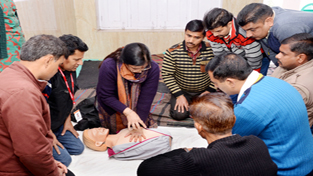 Shrine Board employees being imparted training in Basic Life Support on Monday.