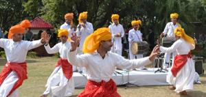 Artists presenting a traditional dance during six-day festival at Amar Mahal Museum, Jammu.