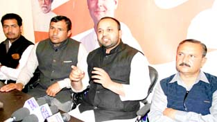 PCC general secretary Shahnawaz Choudhary addressing press  conference in Jammu on Sunday. -Excelsior/ Rakesh