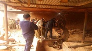 Forest team dismantling illegal saw mill in Jindrah on Friday.