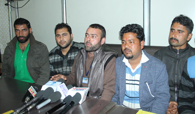 Leaders of MGNREGA Employees Association at a press conference at Jammu on Wednesday.